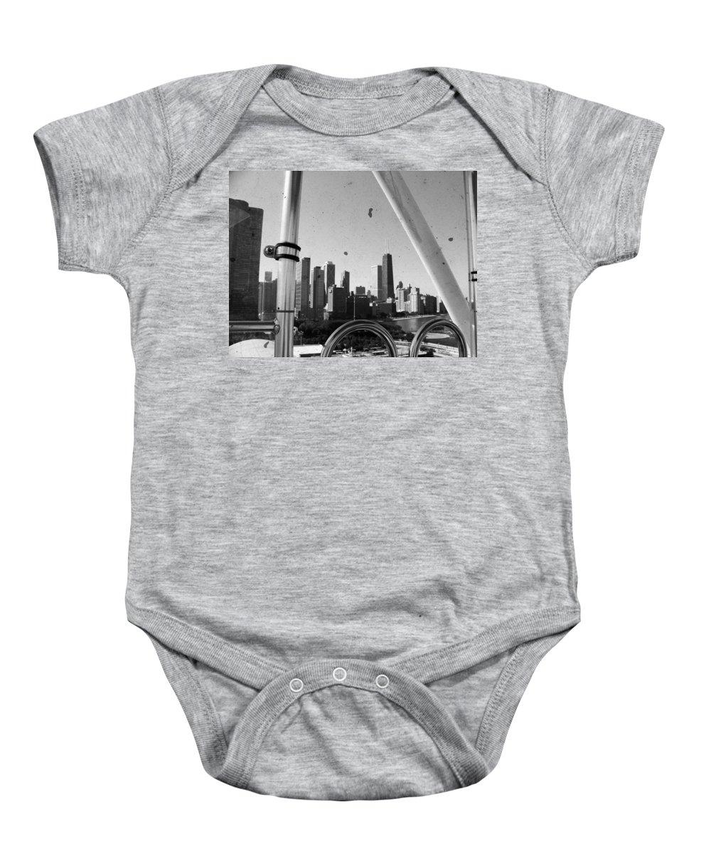 Ferris Wheel Baby Onesie featuring the photograph Chicago Ferris Wheel Skyline by Kyle Hanson