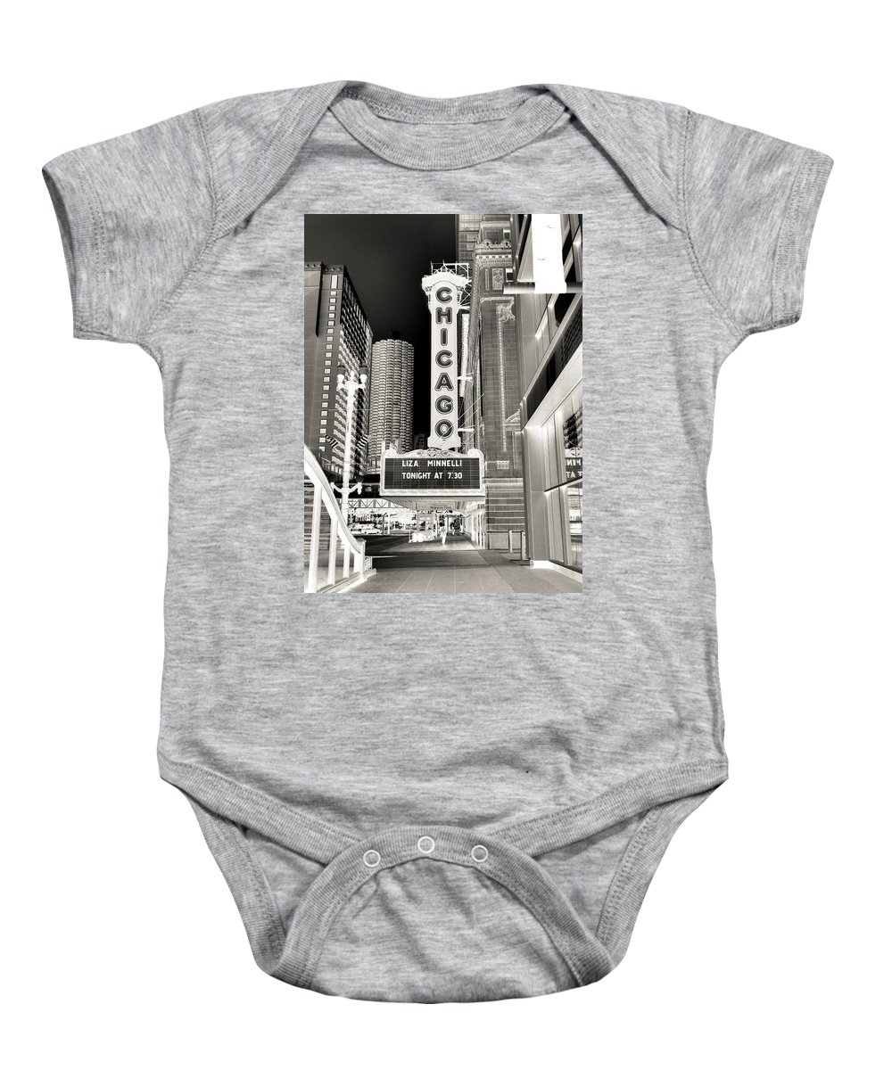Chicago Theater Marquee Baby Onesie featuring the photograph Chicago Theater - 2 by Ely Arsha