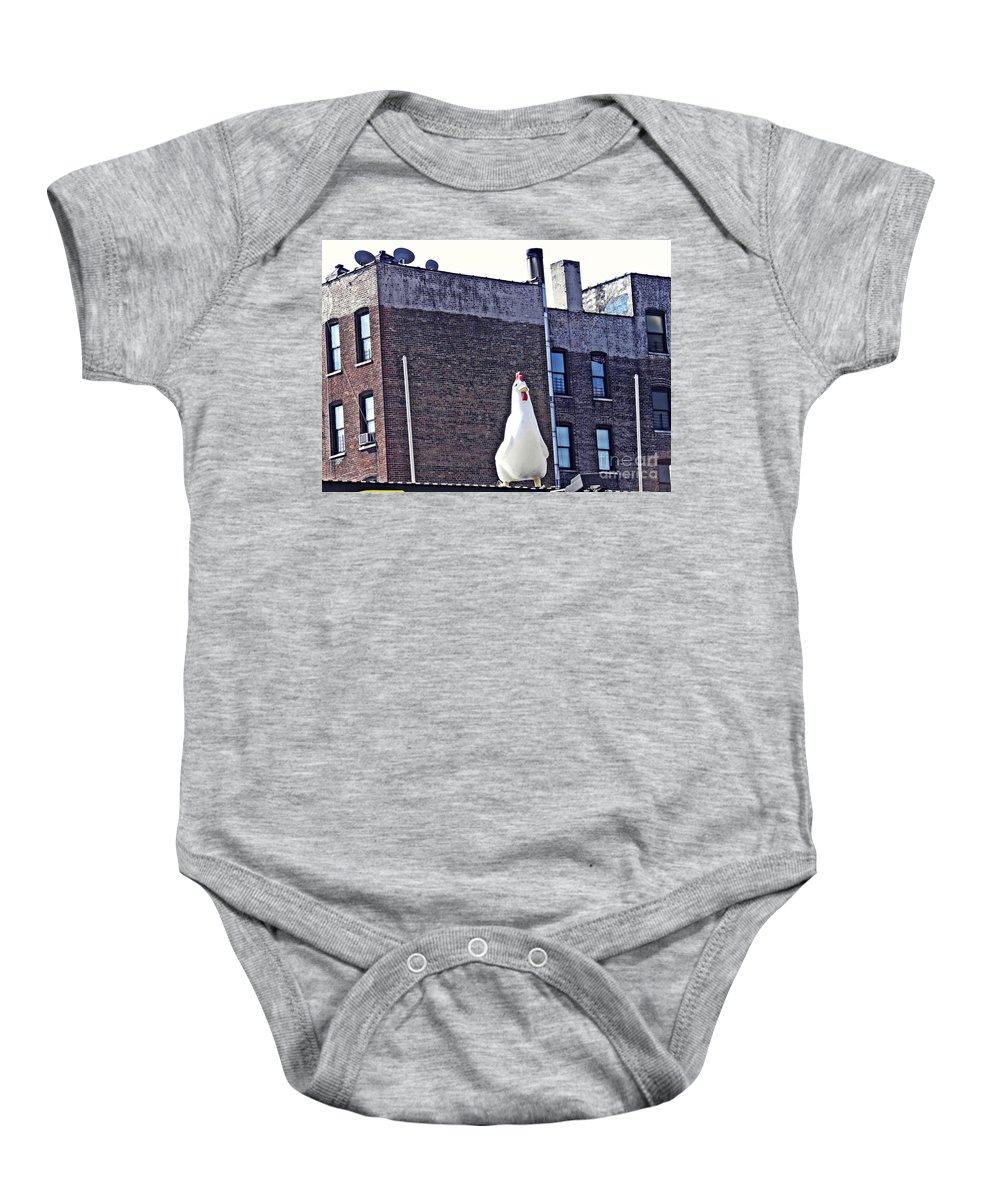 Statue Baby Onesie featuring the photograph Chicken Little In Manhattan by Sarah Loft