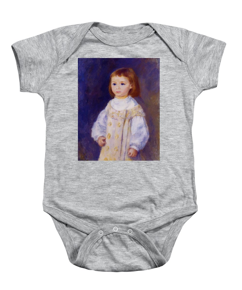 Child Baby Onesie featuring the painting Child In A White Dress Lucie Berard 1883 by Renoir PierreAuguste