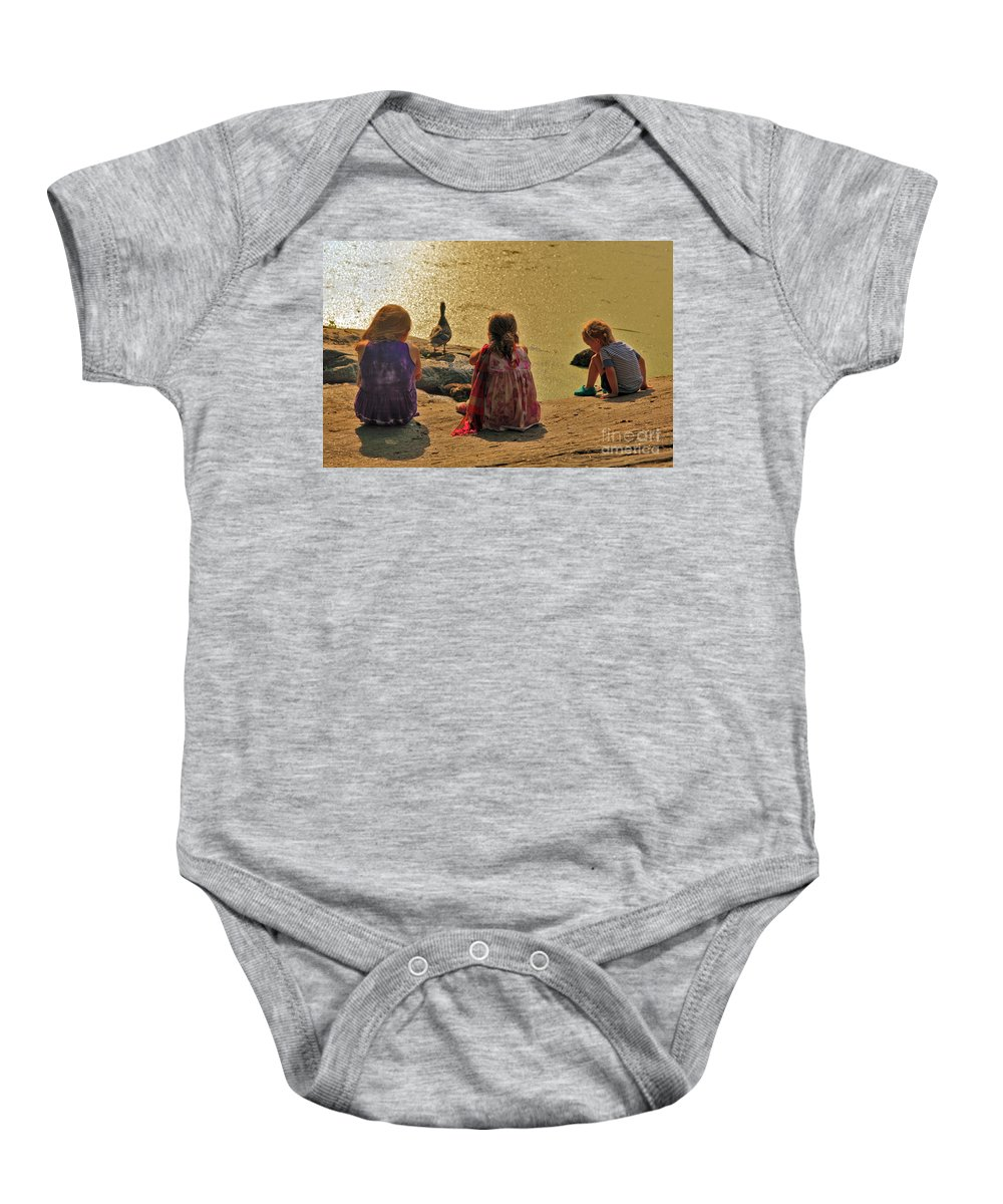 Children Baby Onesie featuring the photograph Children At The Pond 4 by Madeline Ellis