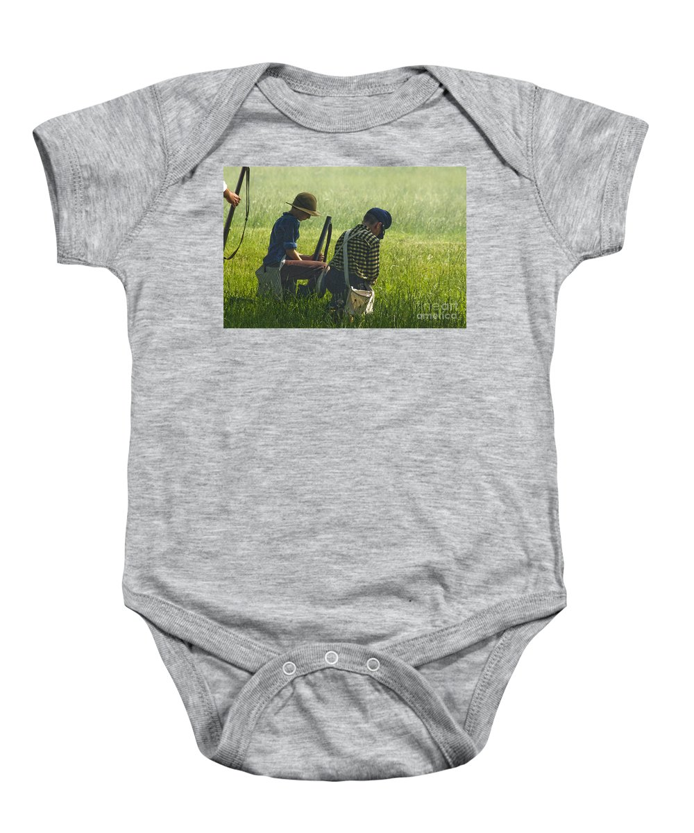 Civil War Re-enactment Baby Onesie featuring the photograph Children Of War by Kim Henderson