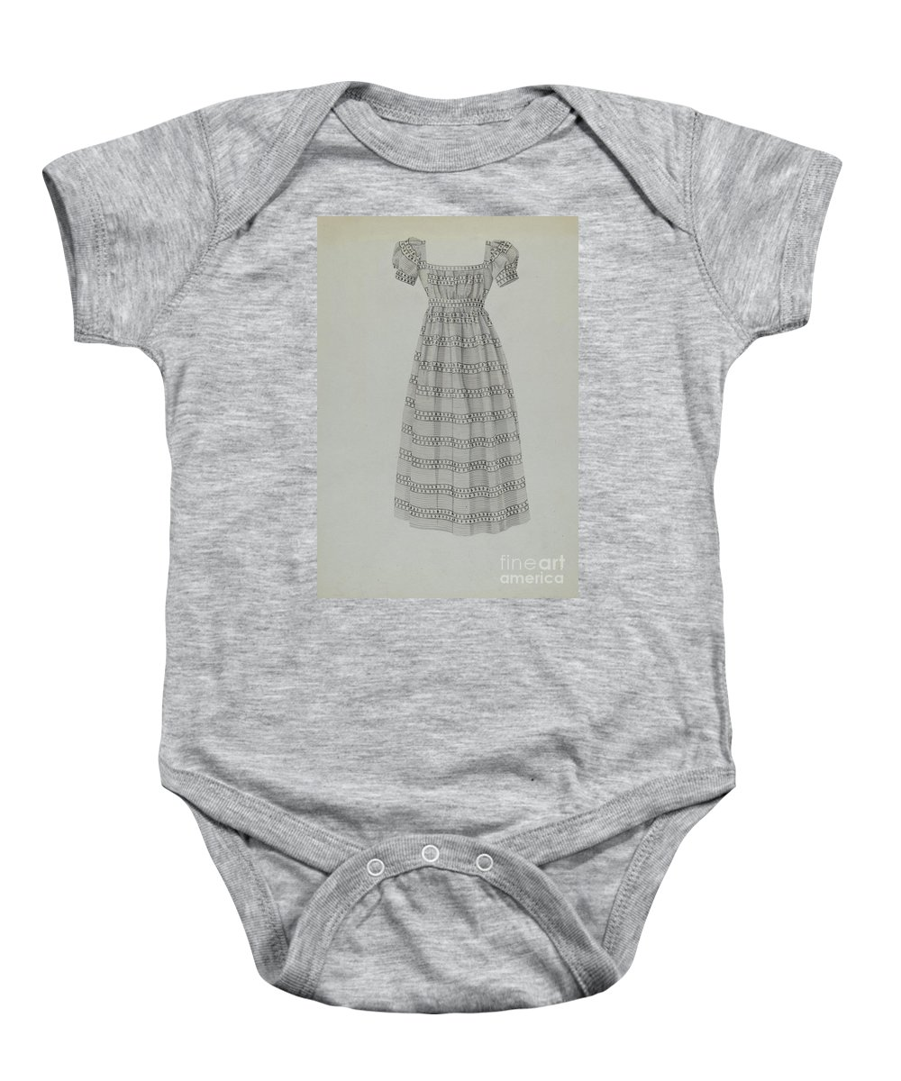 Baby Onesie featuring the drawing Child's Dress by Florence Grant Brown