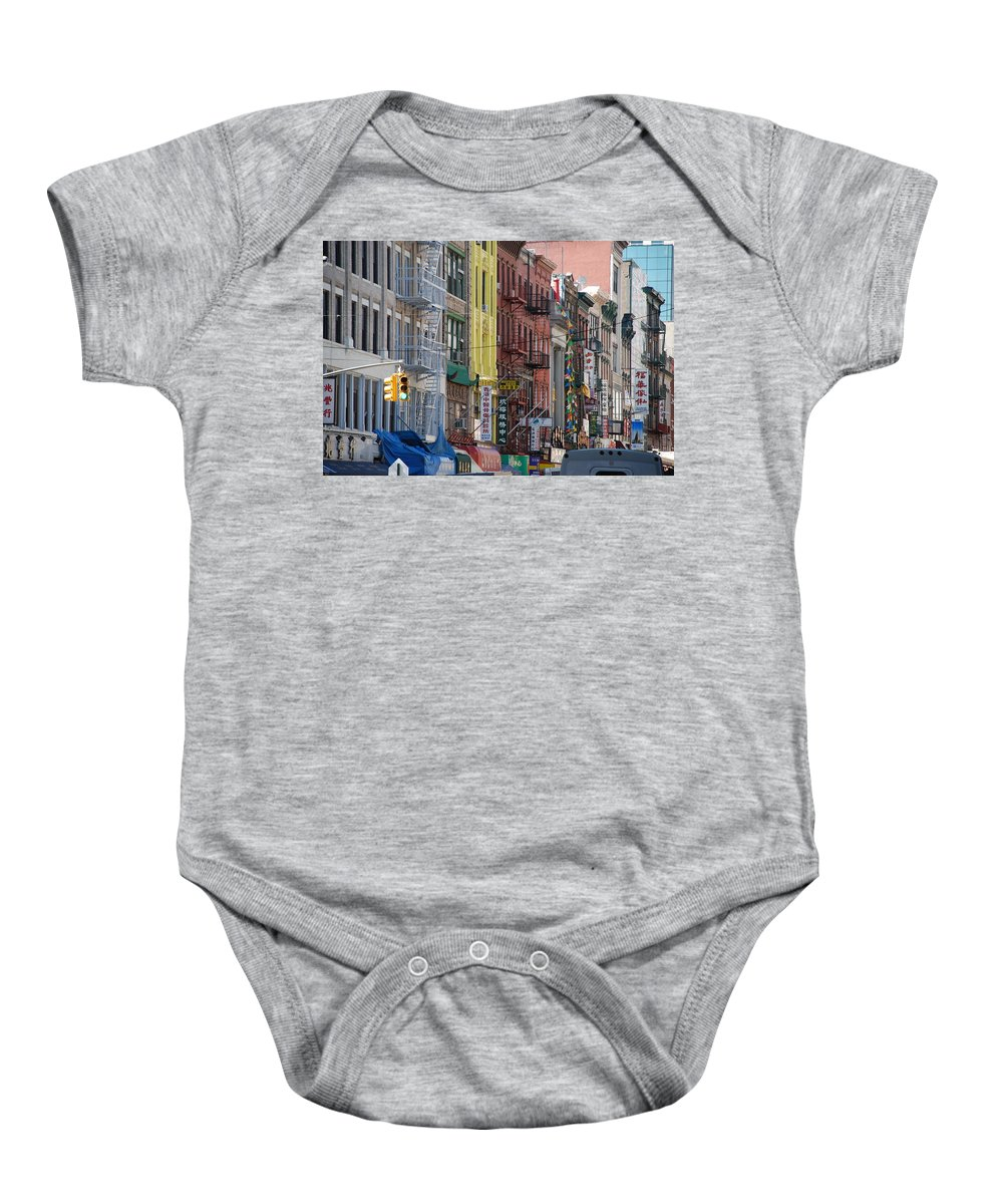 Architecture Baby Onesie featuring the photograph Chinatown Walk Ups by Rob Hans