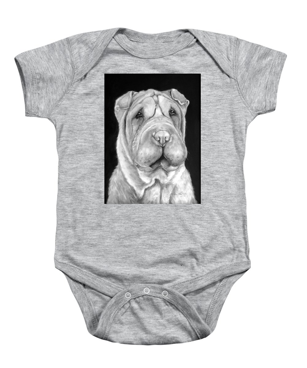 Sharpei Baby Onesie featuring the painting Chinese Sharpei by Portraits By NC