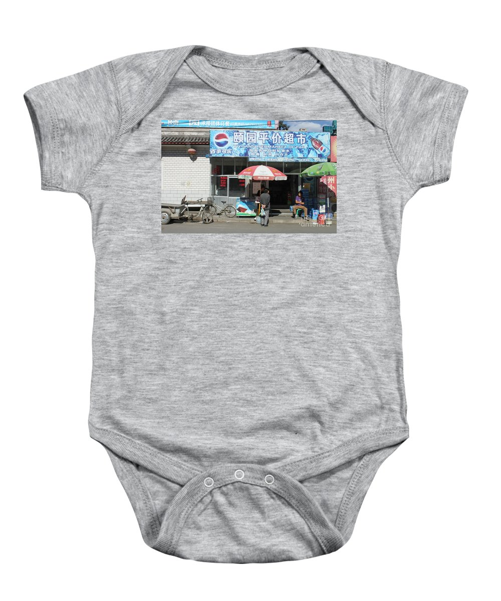 China Baby Onesie featuring the photograph Chinese Storefront by Thomas Marchessault