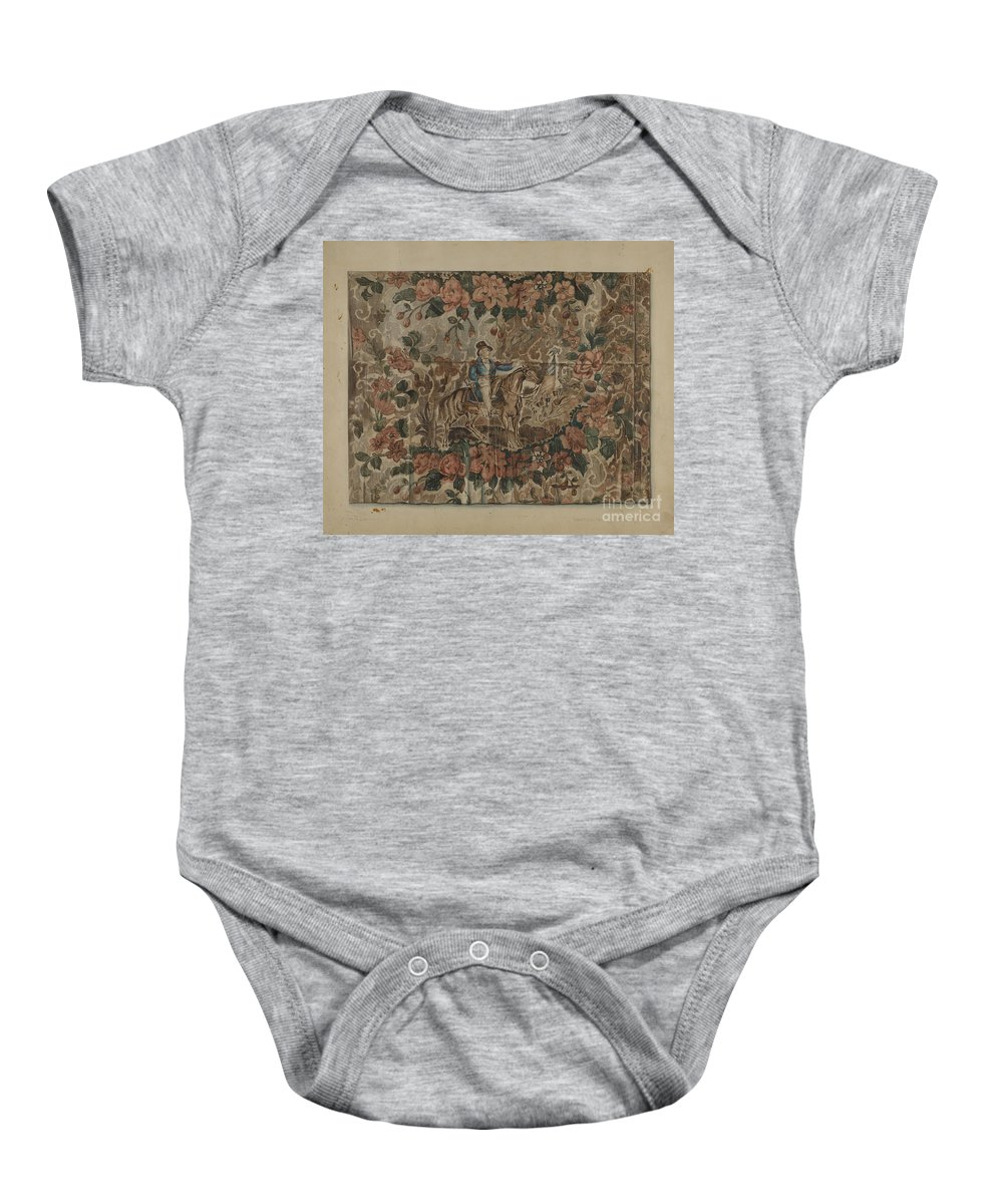 Baby Onesie featuring the drawing Chintz Square by Howard Lumbard