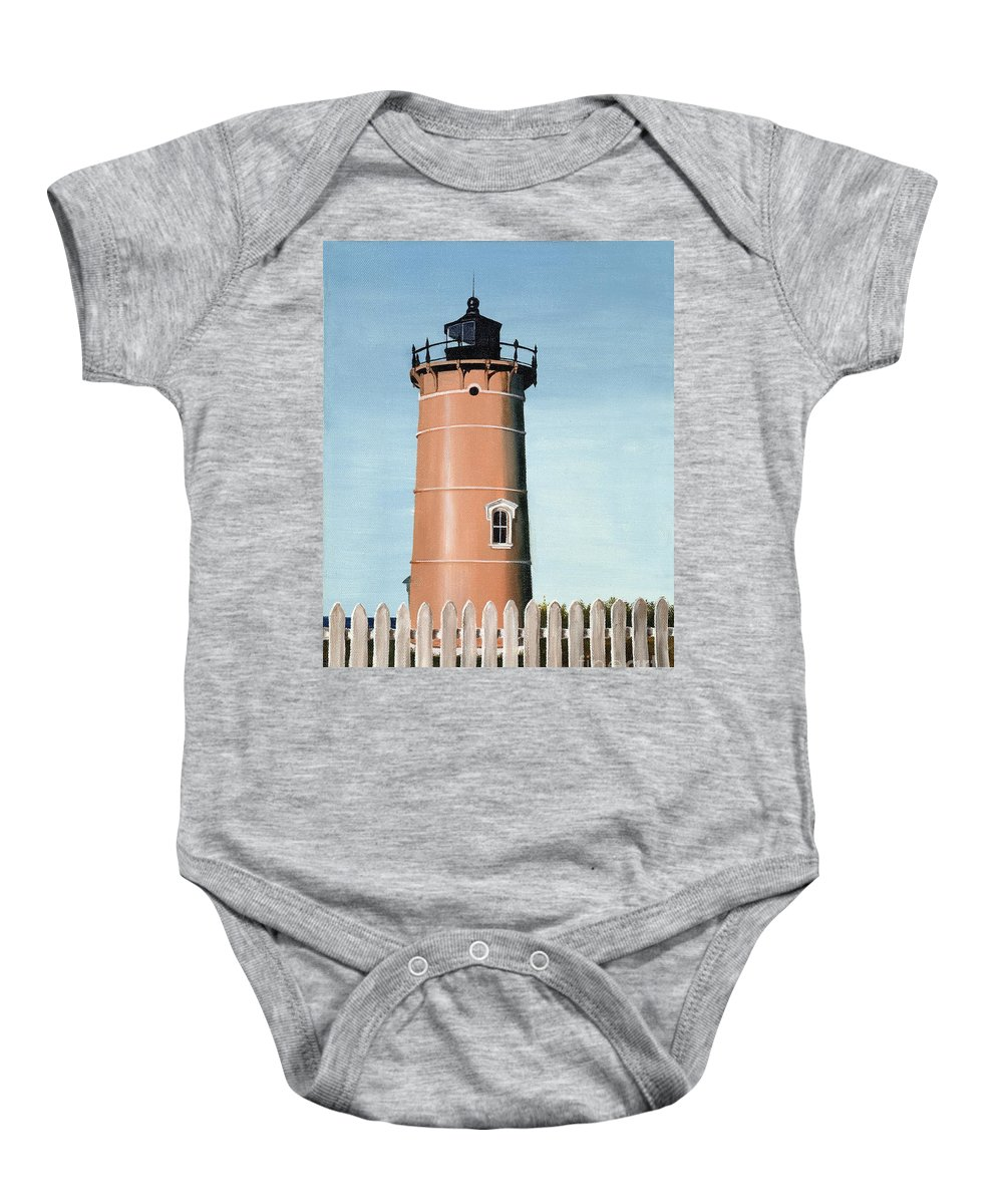 Lighthouse Baby Onesie featuring the painting Chocolate Lighthouse by Mary Rogers