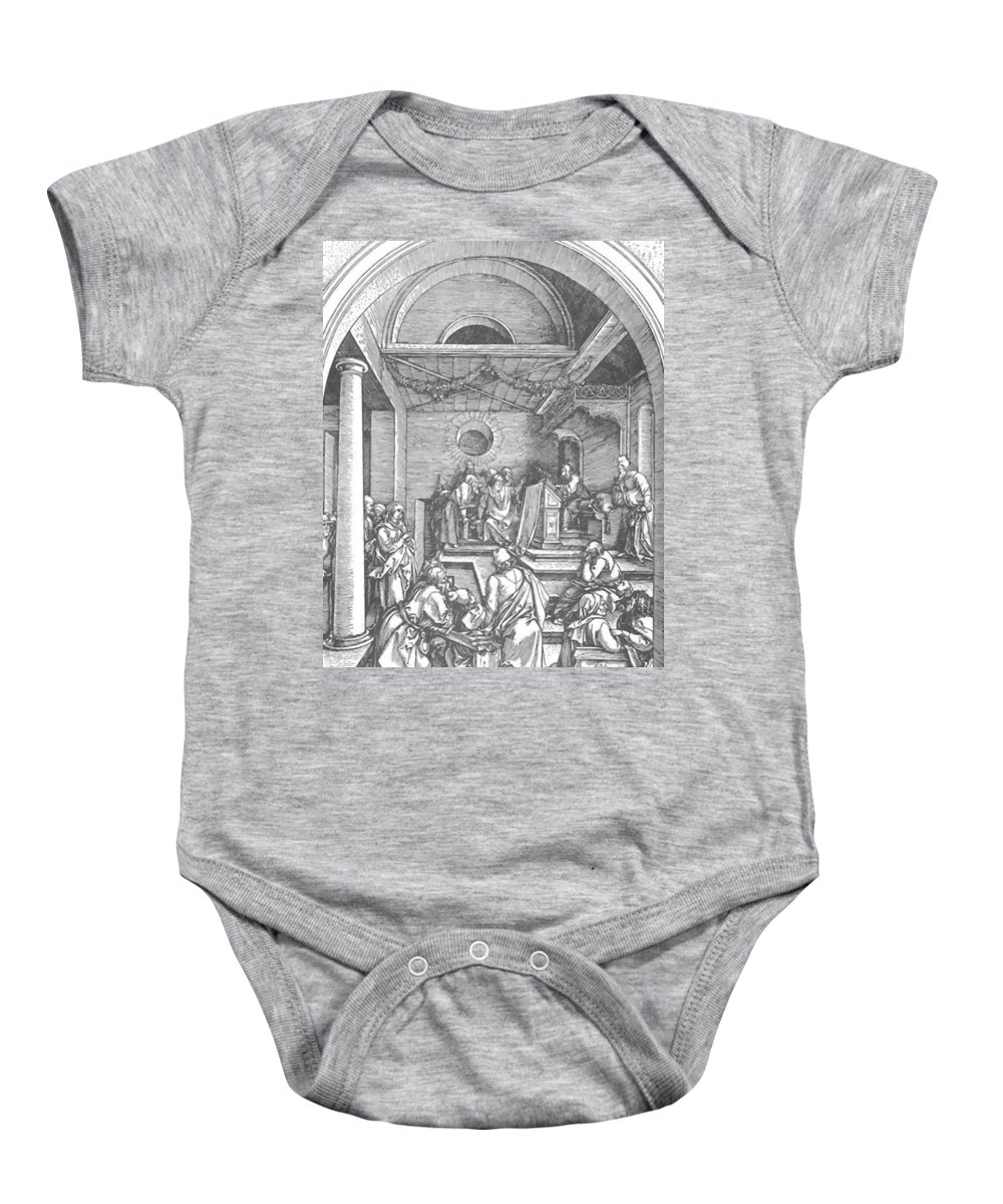 Christ Baby Onesie featuring the painting Christ Among The Doctors In The Temple 1503 by Durer Albrecht