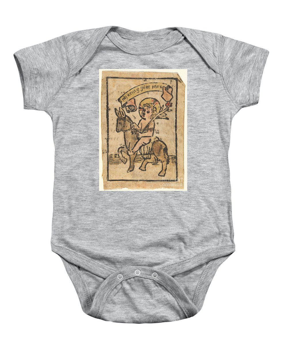 Baby Onesie featuring the drawing Christ Child On Donkey by German 15th Century