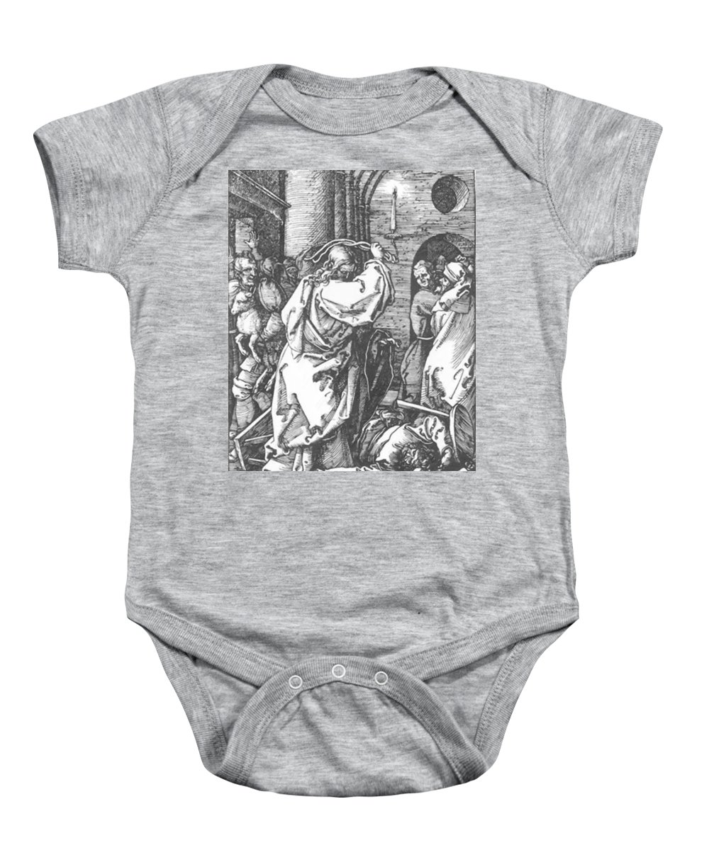 Christ Baby Onesie featuring the painting Christ Driving The Merchants From The Temple 1511 by Durer Albrecht