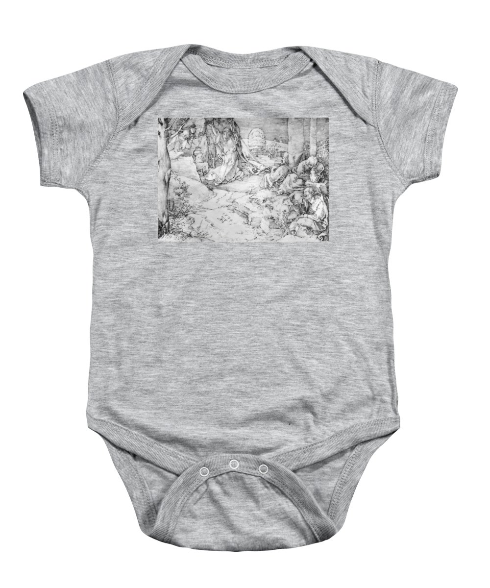 Christ Baby Onesie featuring the painting Christ On The Mount Of Olives 1524 by Durer Albrecht