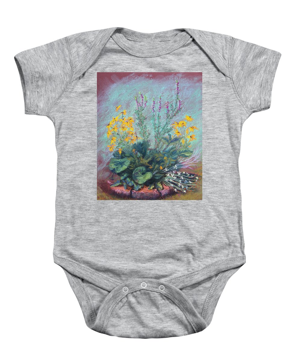 Flowers Baby Onesie featuring the painting Christina's Garden by Laurie Paci