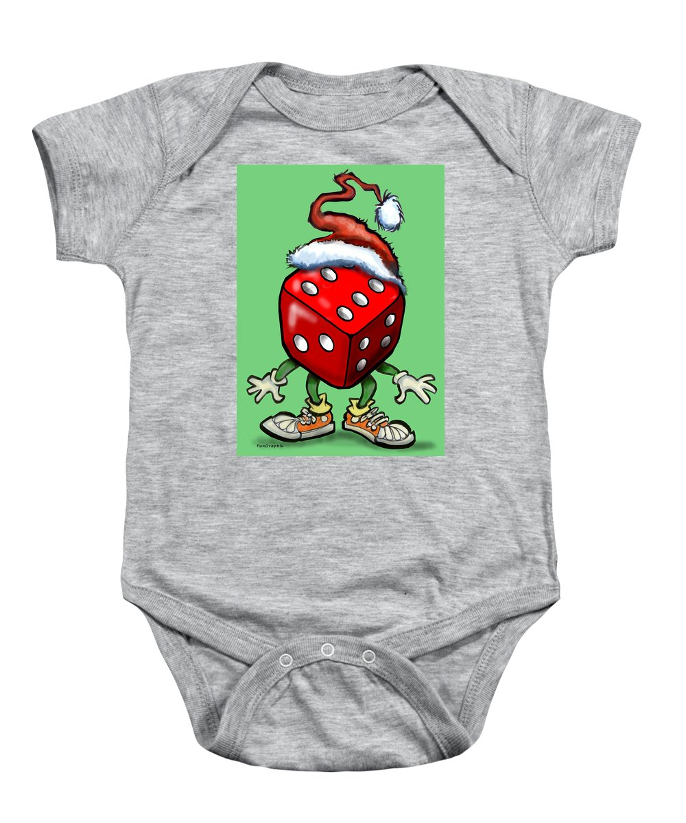 Christmas Baby Onesie featuring the greeting card Christmas Casino Party by Kevin Middleton