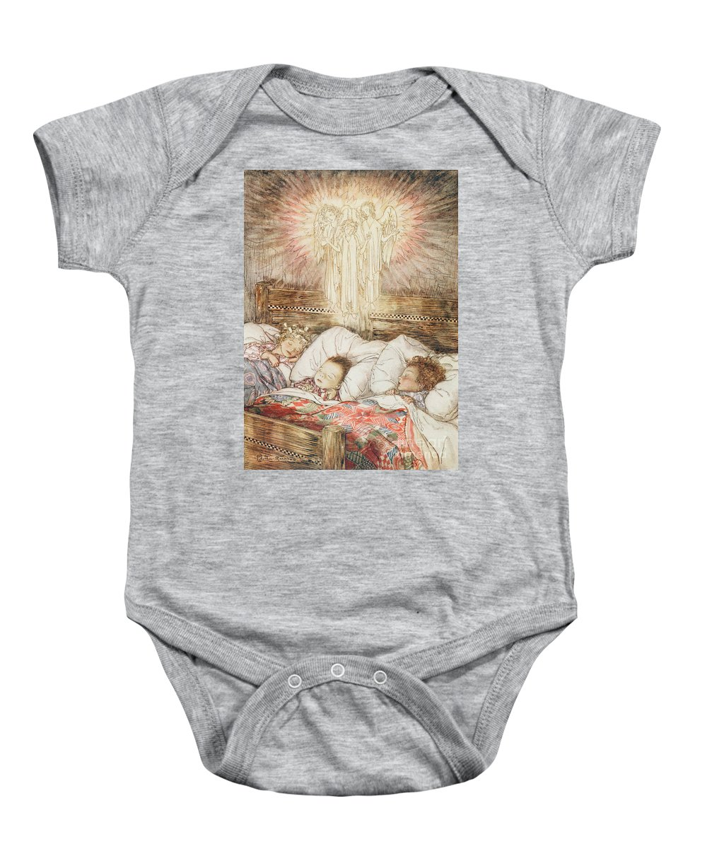 Xmas Baby Onesie featuring the drawing Christmas Illustrations From The Night Before Christmas by Arthur Rackham