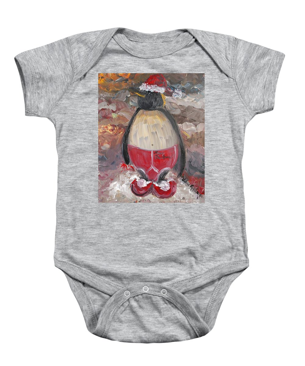 Penguin Baby Onesie featuring the painting Christmas Penguin by Nadine Rippelmeyer