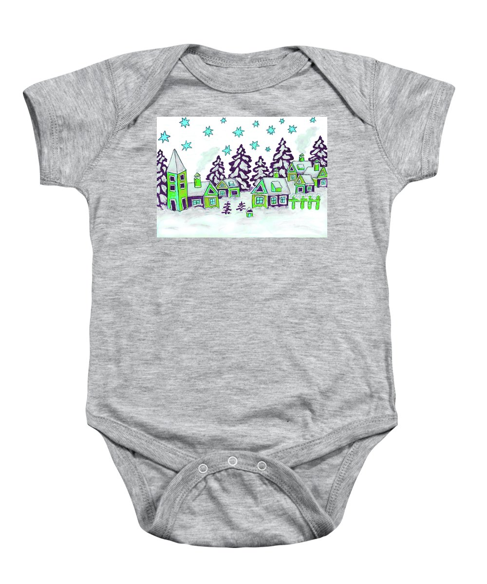 Christmas Baby Onesie featuring the painting Christmas Picture In Green And Blue Colours by Irina Afonskaya