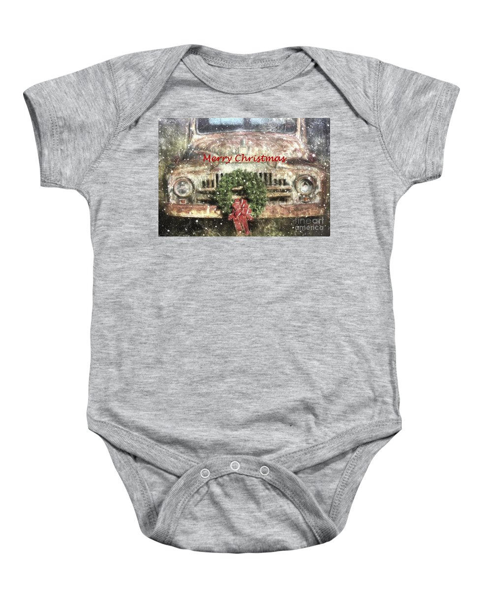 Christmas Baby Onesie featuring the photograph Christmas Truck by Benanne Stiens