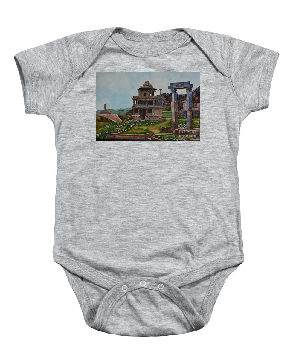 Landscape Baby Onesie featuring the painting Cithradurga Fort by Usha Rai