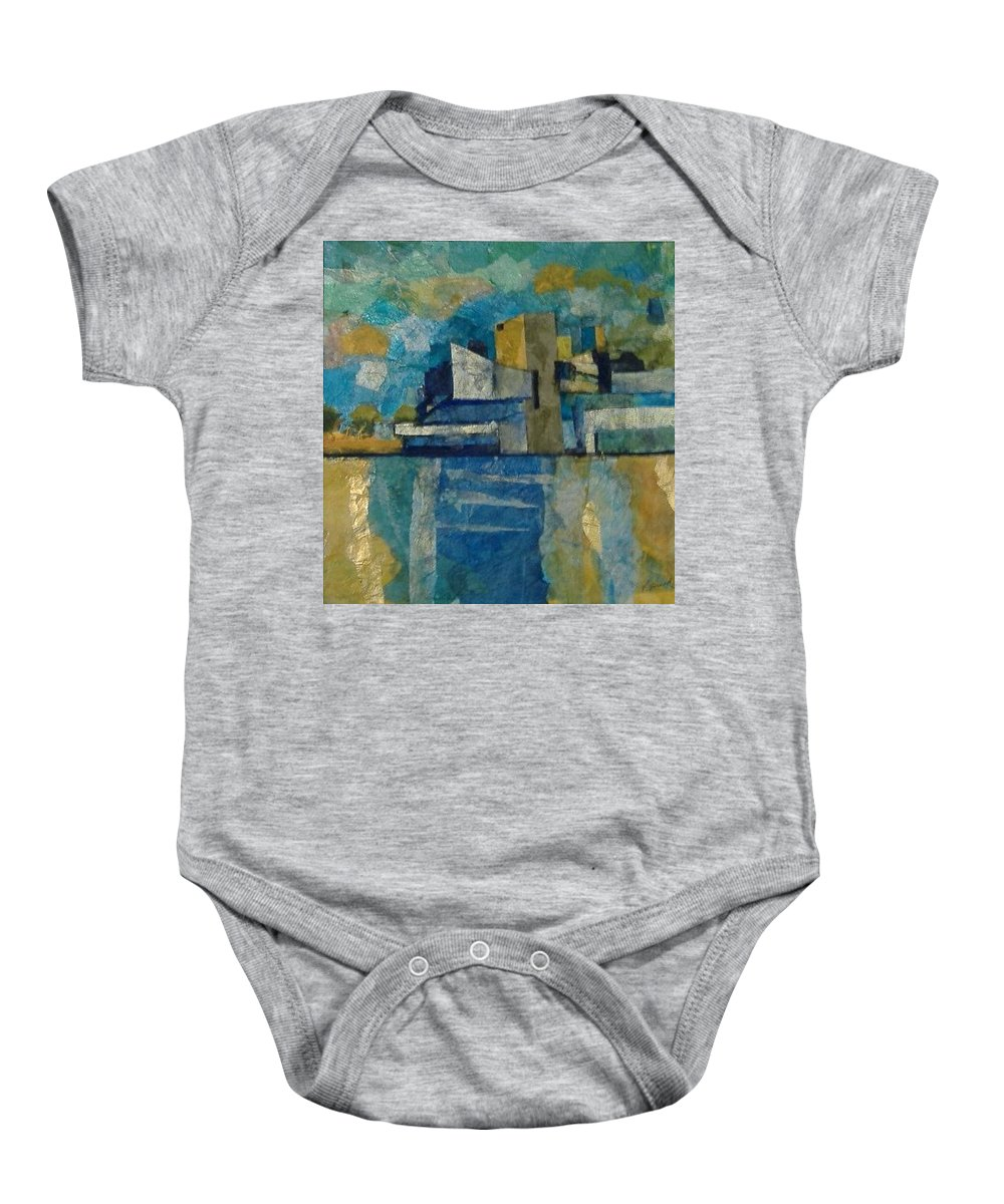 Baby Onesie featuring the mixed media City In Harmony by Pat Snook