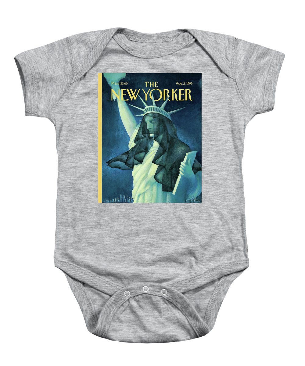 City In Mourning Baby Onesie featuring the painting City In Mourning by Ana Juan
