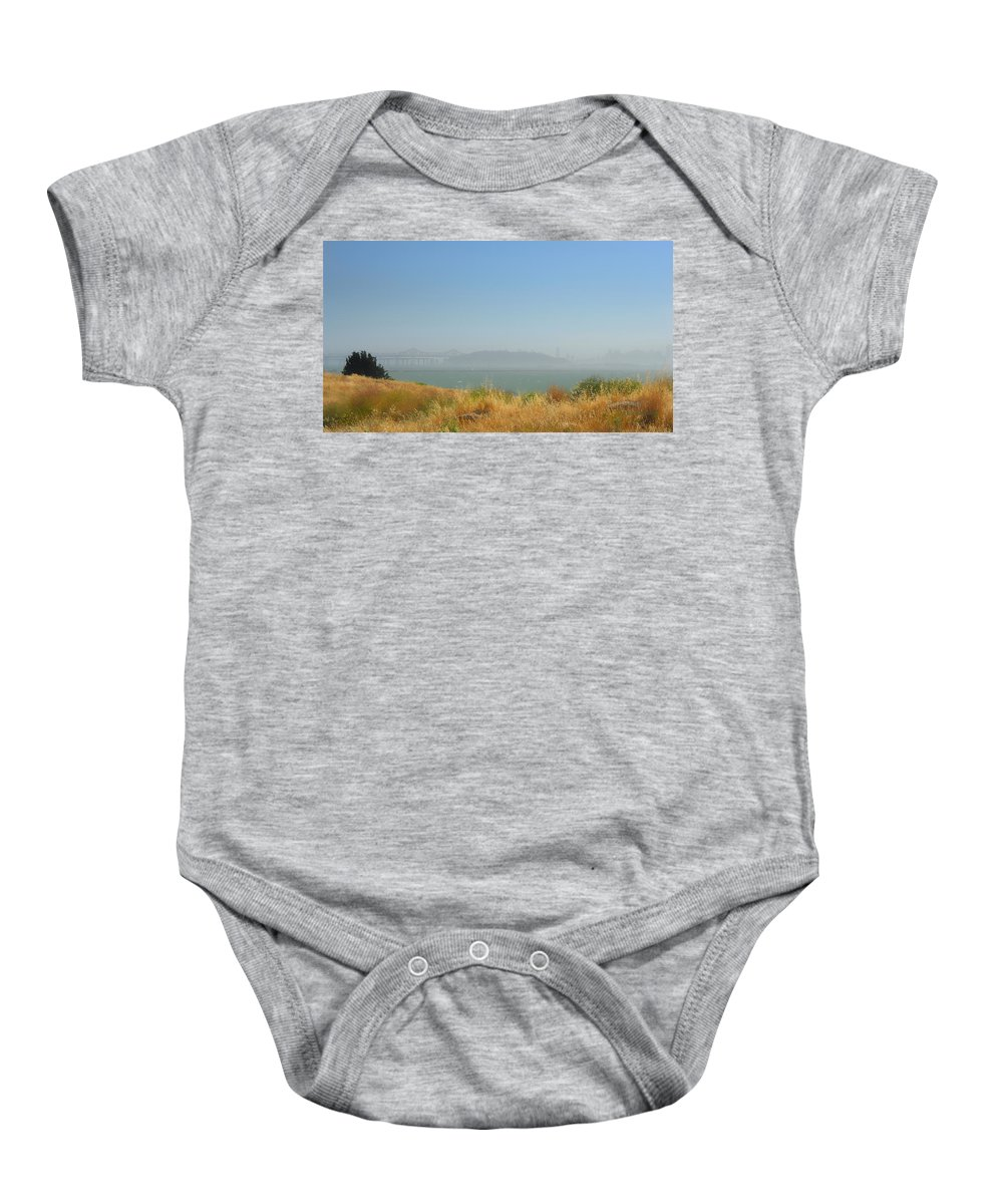 San Francisco Baby Onesie featuring the photograph City In The Fog by Donna Blackhall
