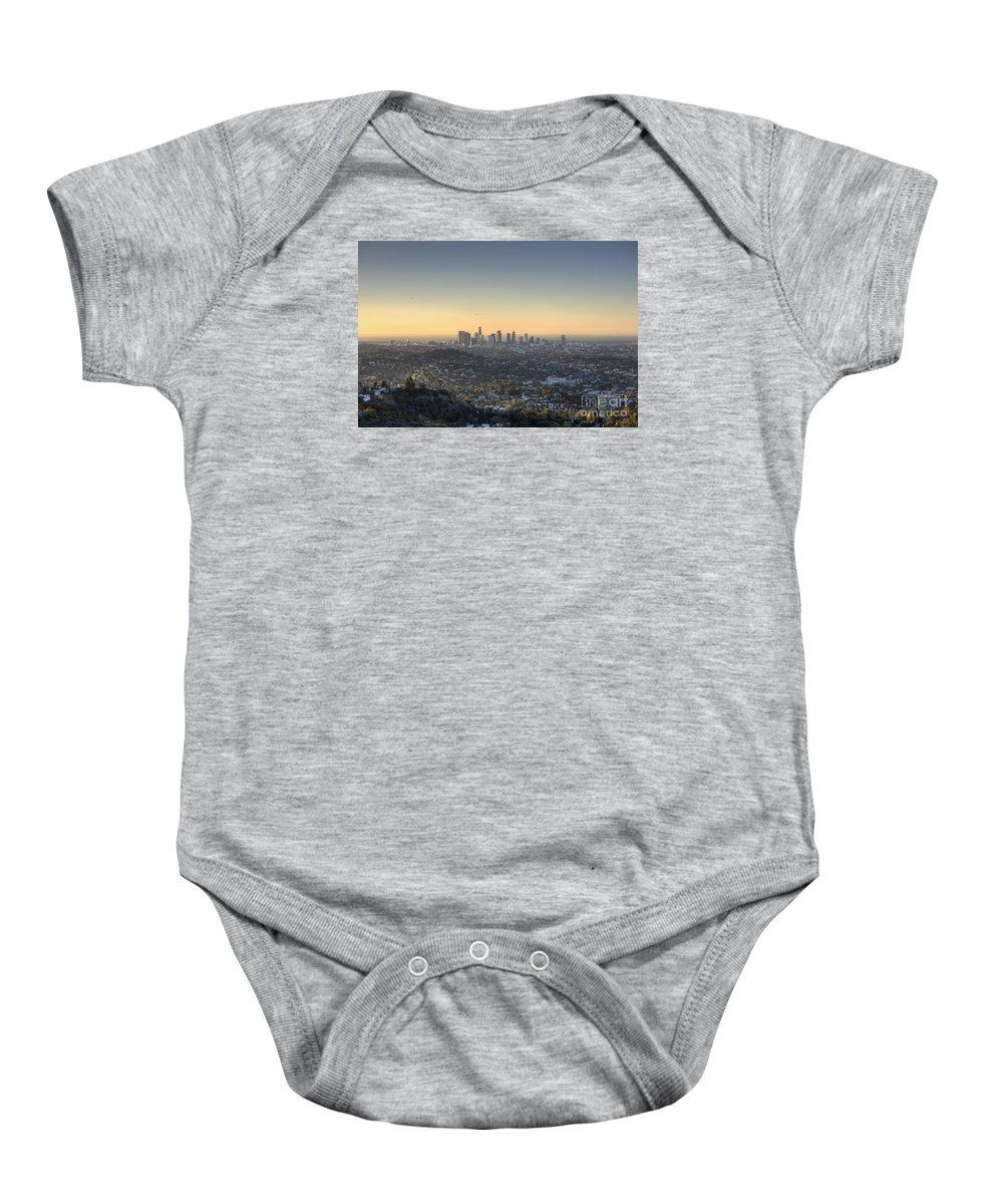 Los Angeles Baby Onesie featuring the photograph City Of Los Angeles At Dawn by Trekkerimages Photography