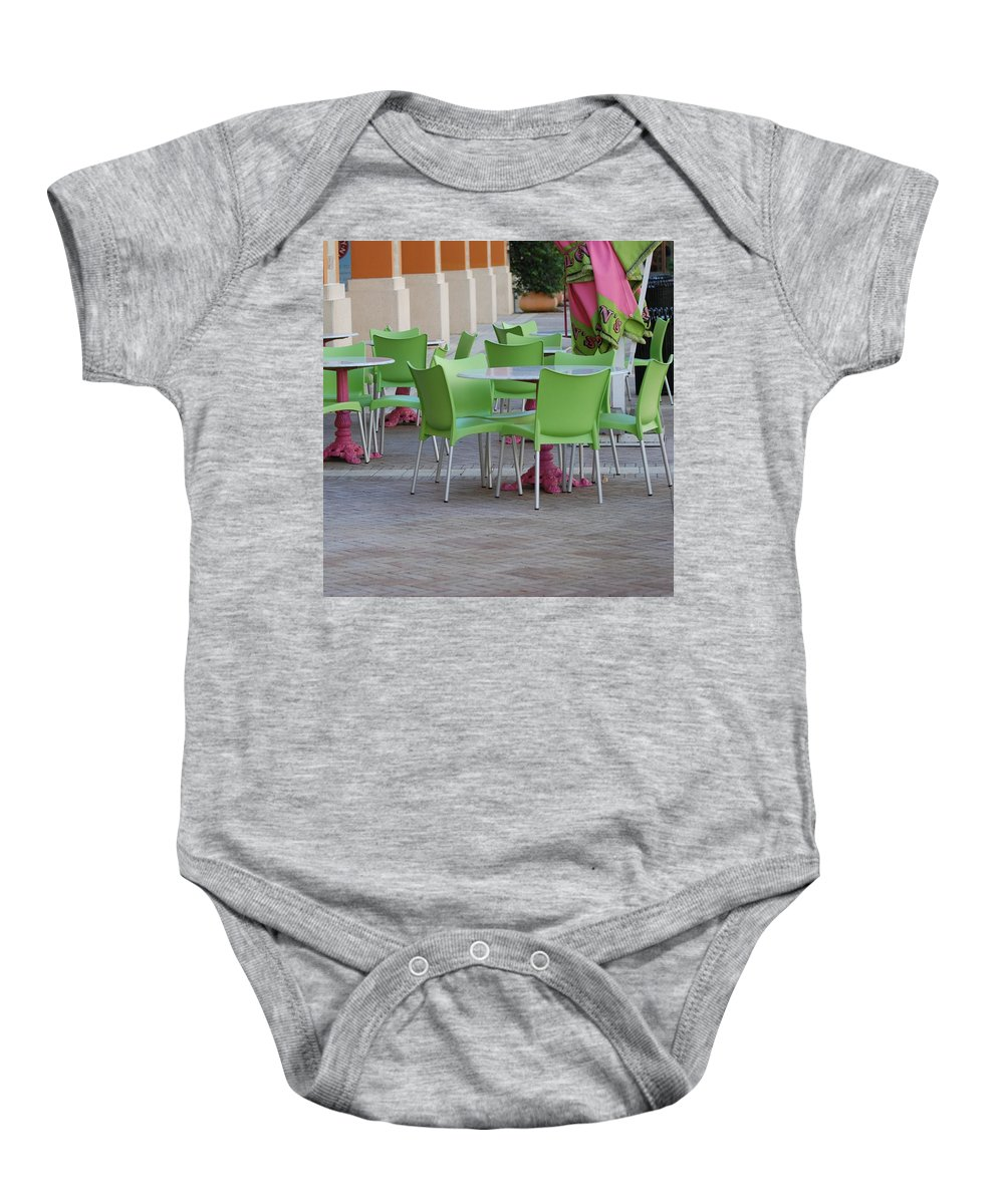 Chairs Baby Onesie featuring the photograph City Place Seats by Rob Hans