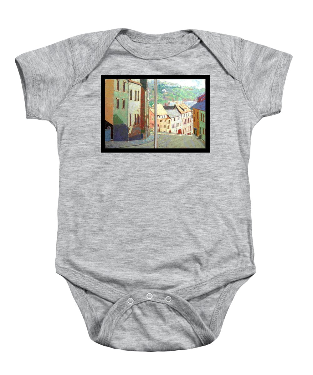 Buildings Baby Onesie featuring the painting City Scape-dyptich by Walter Casaravilla