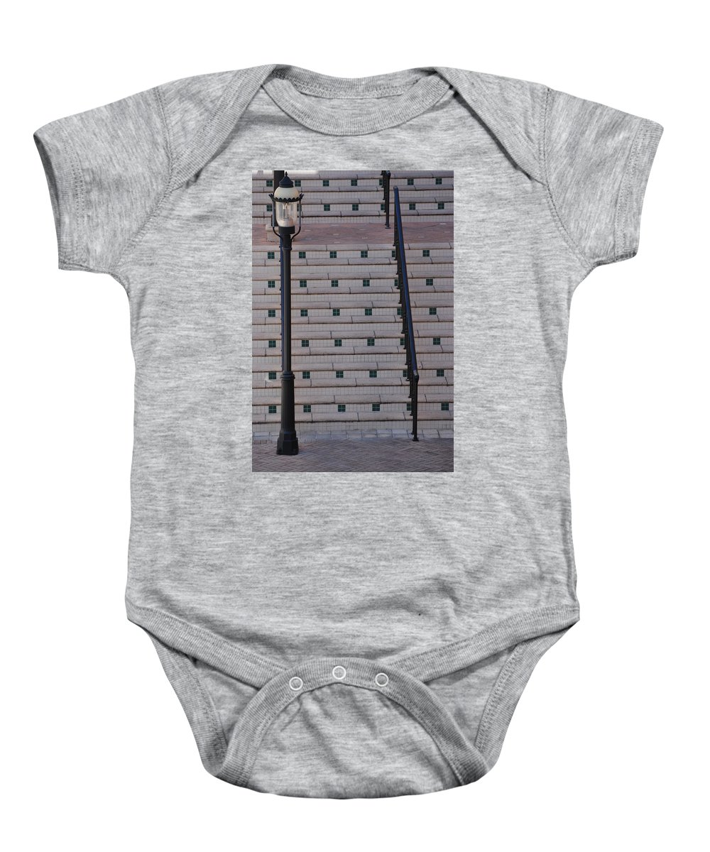 Architecture Baby Onesie featuring the photograph City Stairs by Rob Hans
