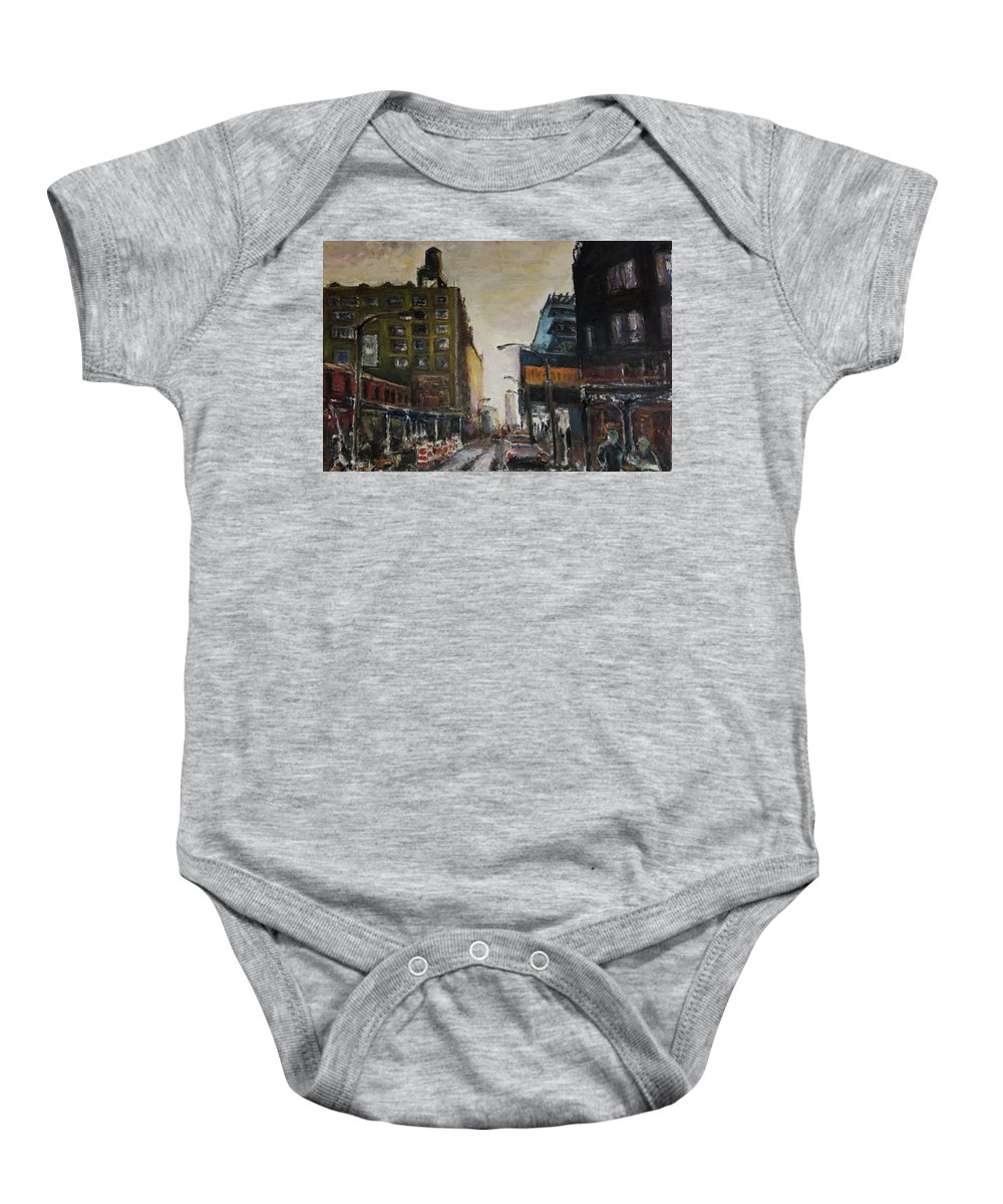 New York Baby Onesie featuring the painting City With Barrels by Craig Newland
