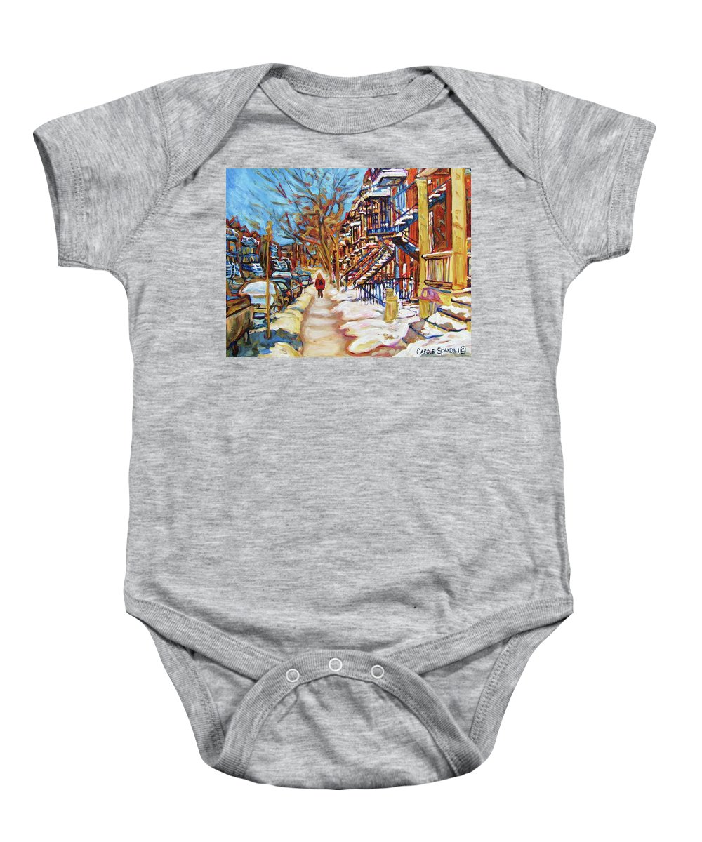 Montreal Baby Onesie featuring the painting Cityscene In Winter by Carole Spandau