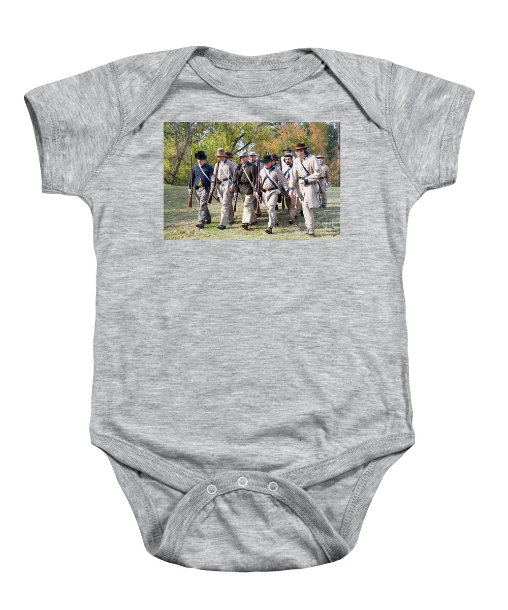Psi Baby Onesie featuring the photograph Civil War Weekend, Arkansas, Usa 6 by Ohad Shahar