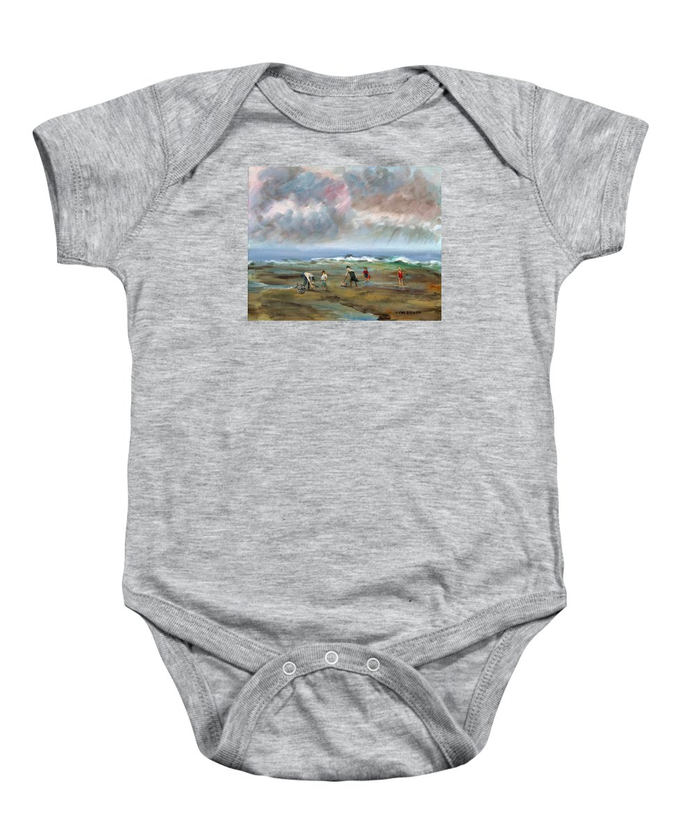 Seascape Baby Onesie featuring the painting Clam Diggers - Sold by Vivan Robinson