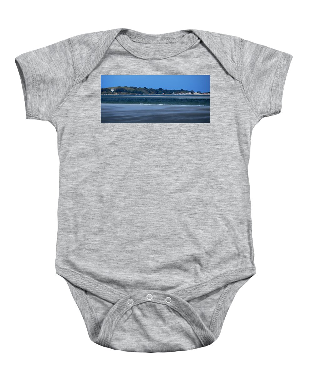 Clarks Island And Saquish Neck From Long Beach Plymouth Baby Onesie featuring the photograph Clarks Island And Saquish Neck by Bill Driscoll