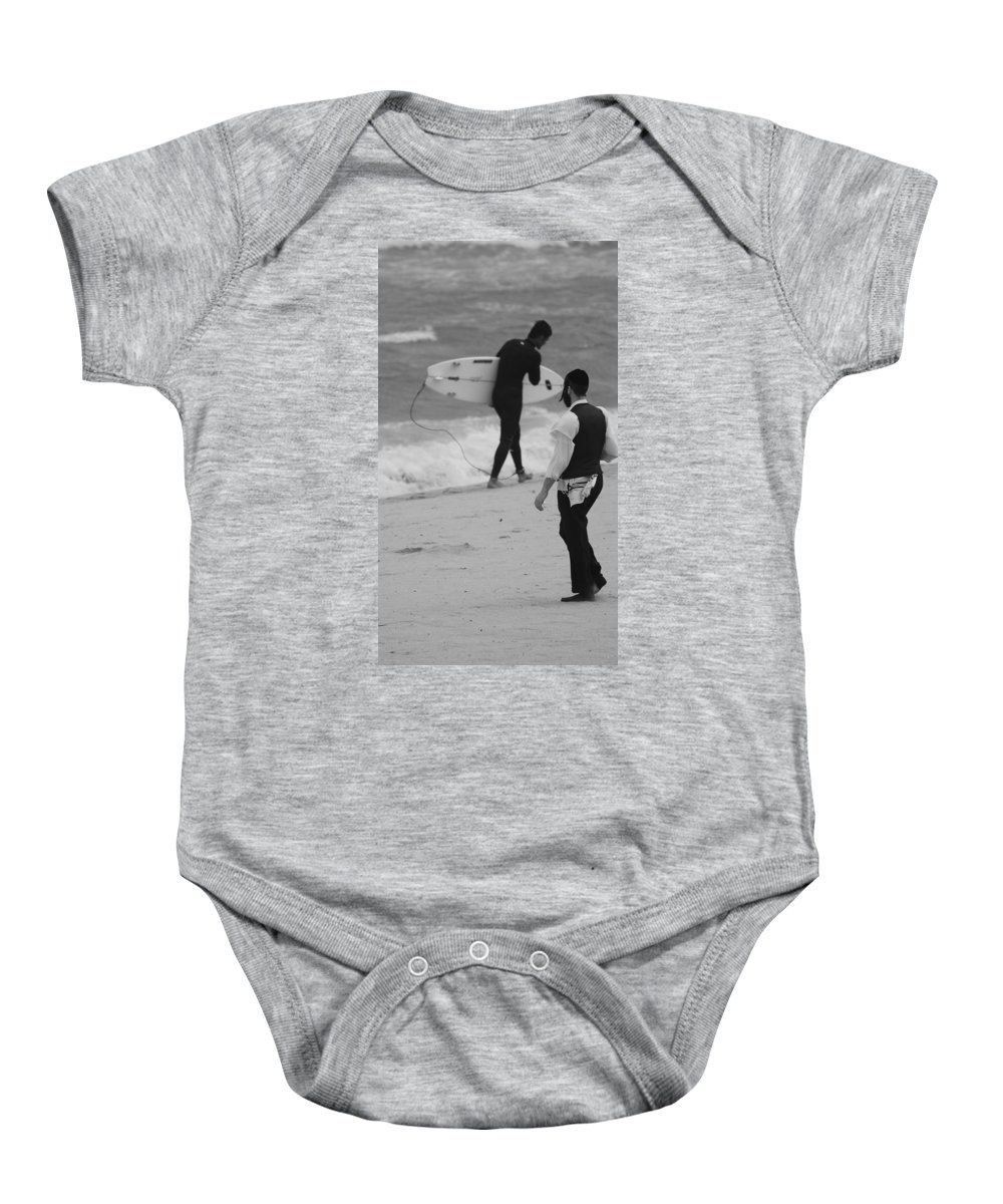Black And White Baby Onesie featuring the photograph Clash Of Cultures by Rob Hans