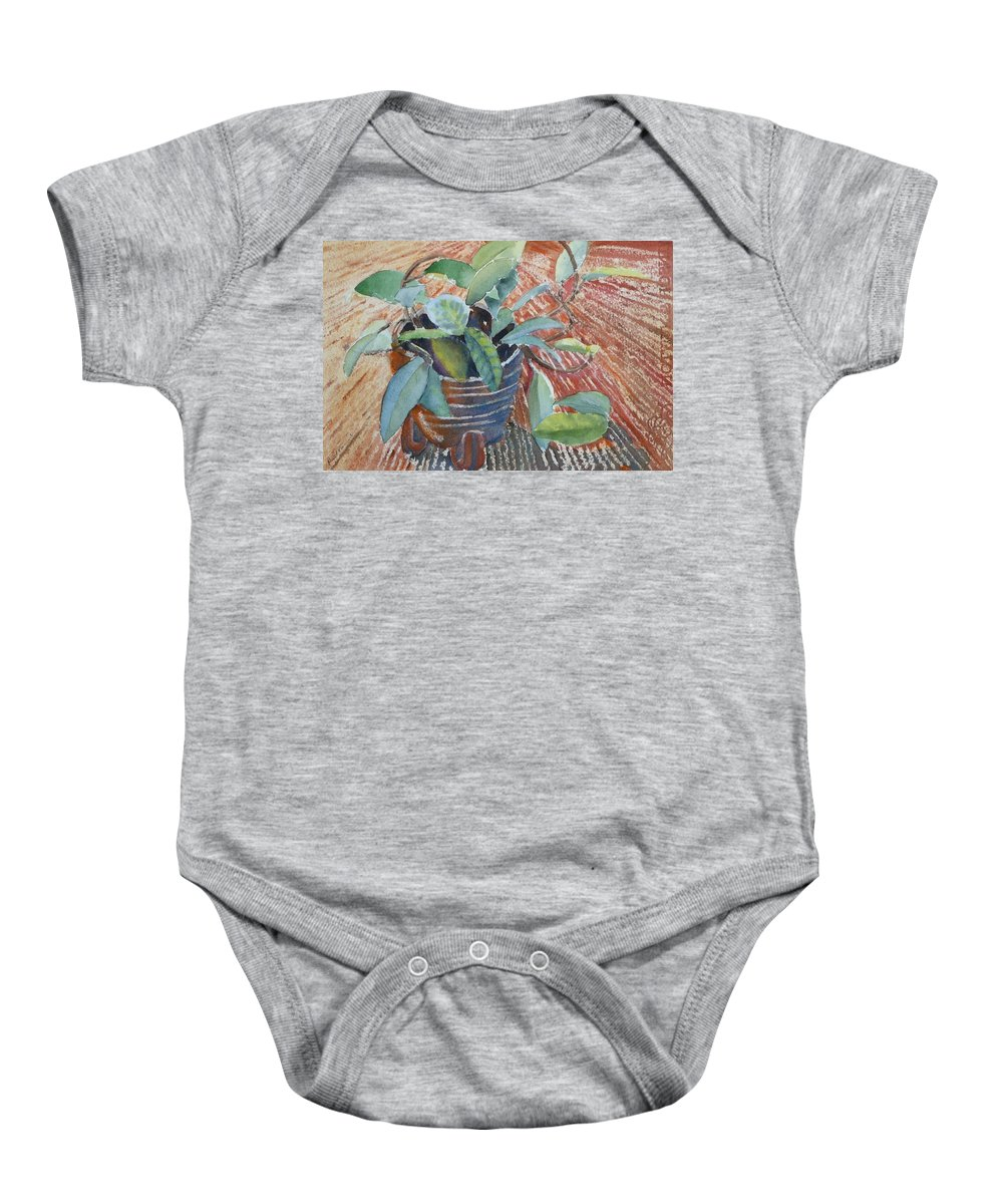Vine Baby Onesie featuring the painting Clay Pot by Ruth Kamenev