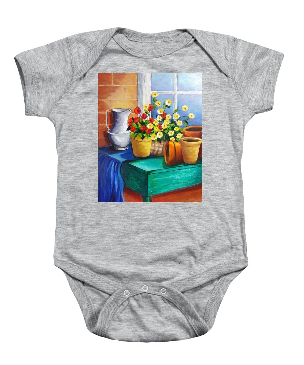 Still Life Baby Onesie featuring the painting Clay Pots by Rosie Sherman