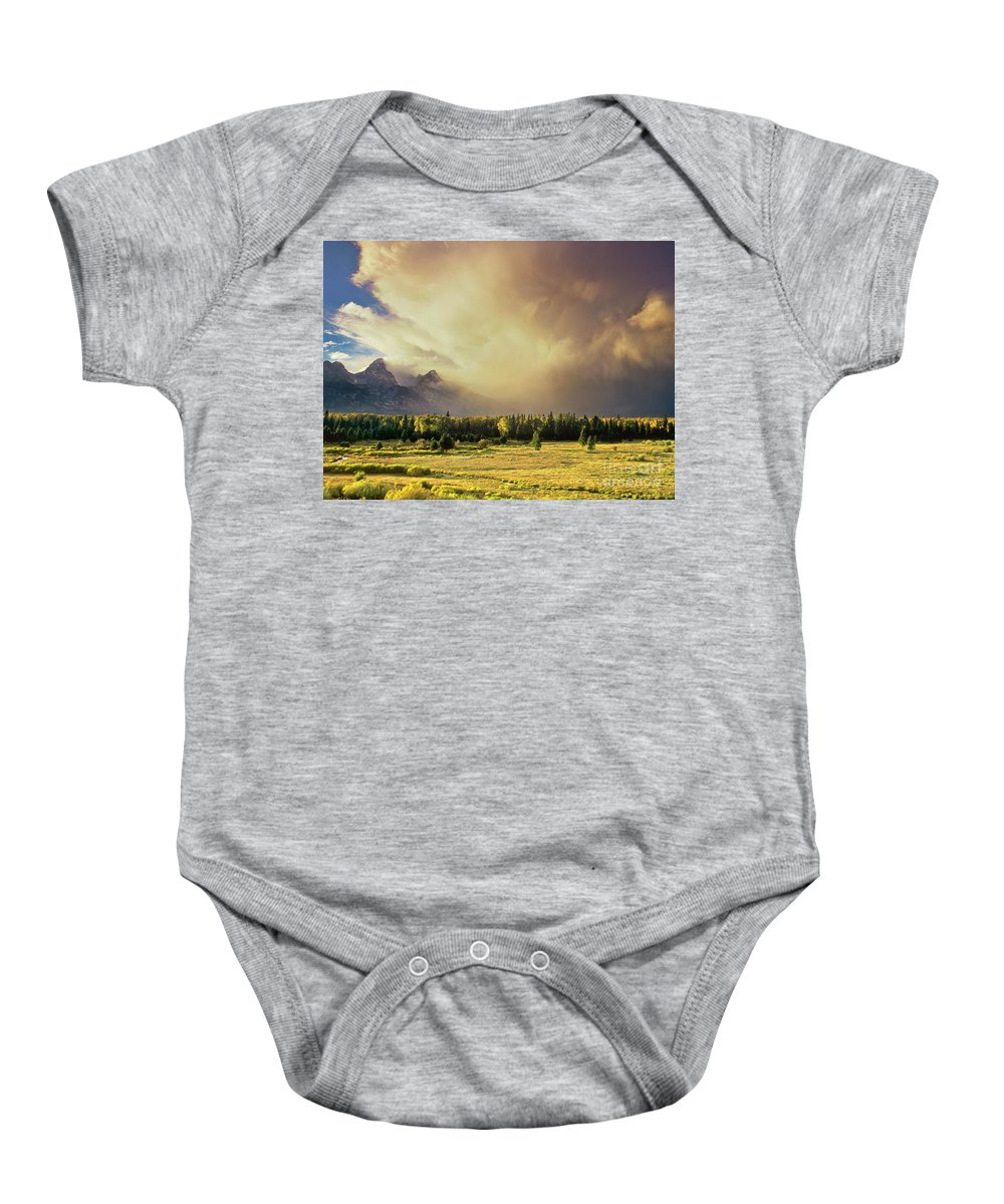 North America Baby Onesie featuring the photograph Clearing Summer Storm Grand Tetons National Park by Dave Welling