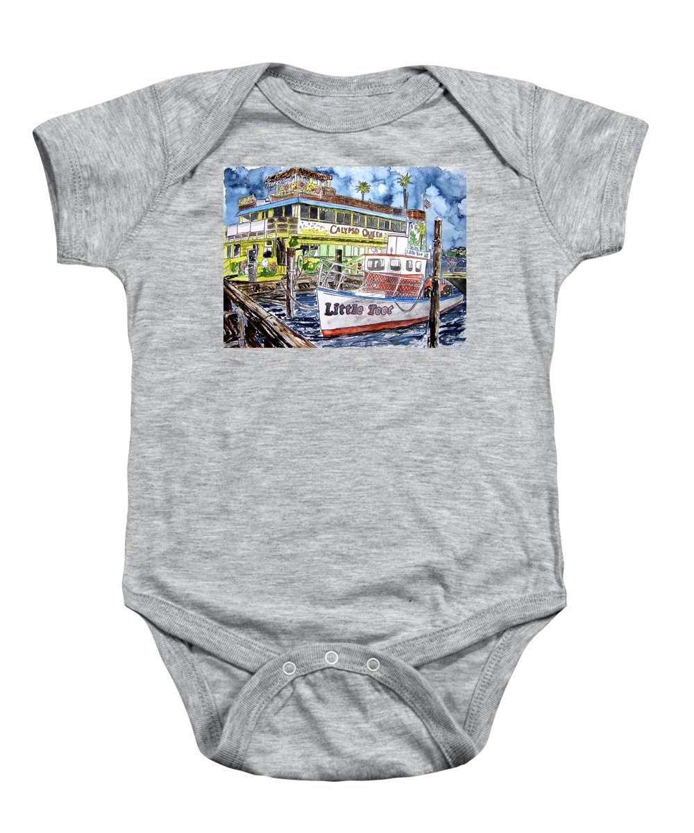 Seascape Baby Onesie featuring the painting Clearwater Florida Boat Painting by Derek Mccrea