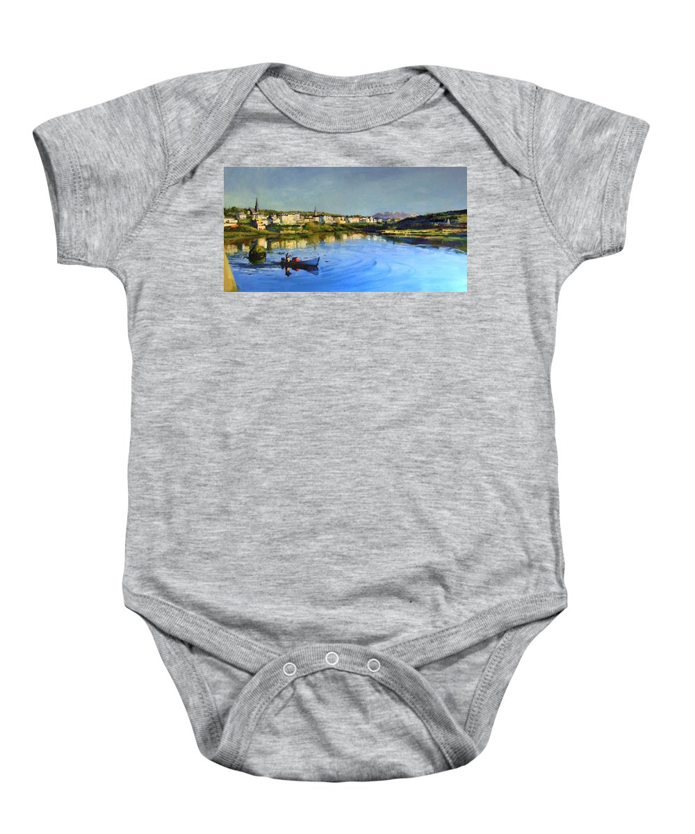 Clifden Baby Onesie featuring the painting Clifden Harbour by Conor McGuire