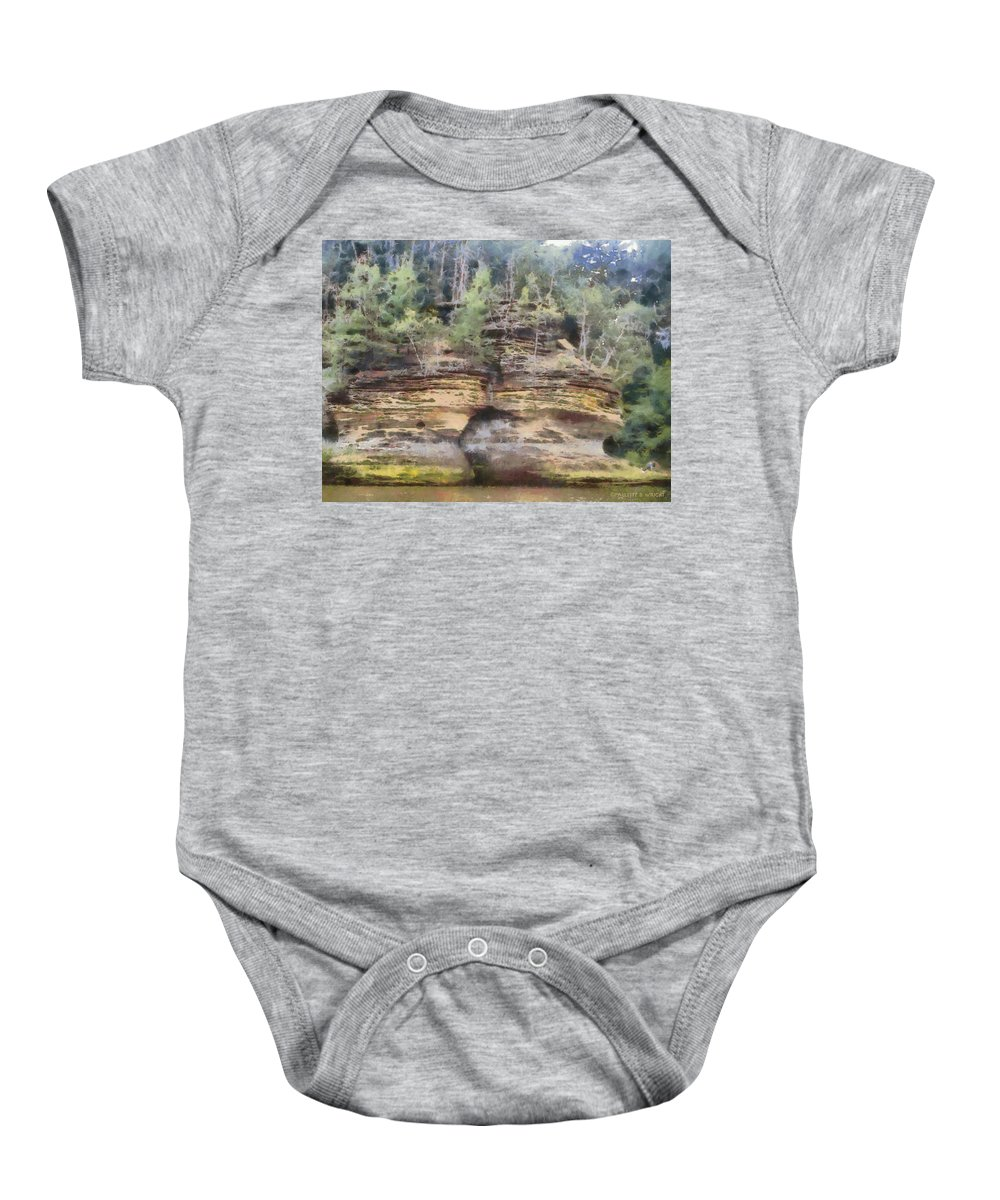 Wright Baby Onesie featuring the photograph Cliffs At The Dells by Paulette B Wright