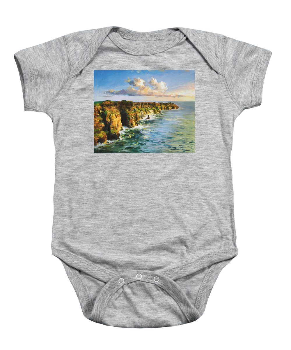 Cliffs Mohar Baby Onesie featuring the painting Cliffs Of Mohar 2 by Conor McGuire