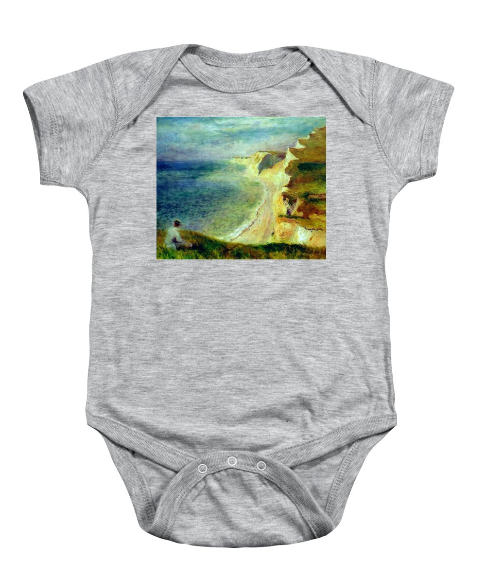Cliffs Baby Onesie featuring the painting Cliffs On The Coast Near Pourville 1879 by Renoir PierreAuguste