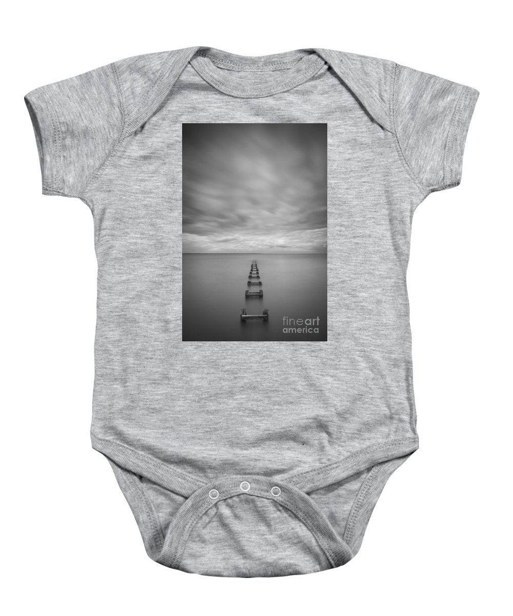 Cliffwood Baby Onesie featuring the photograph Cliffwood Sea Wall Vertical Bw by Michael Ver Sprill