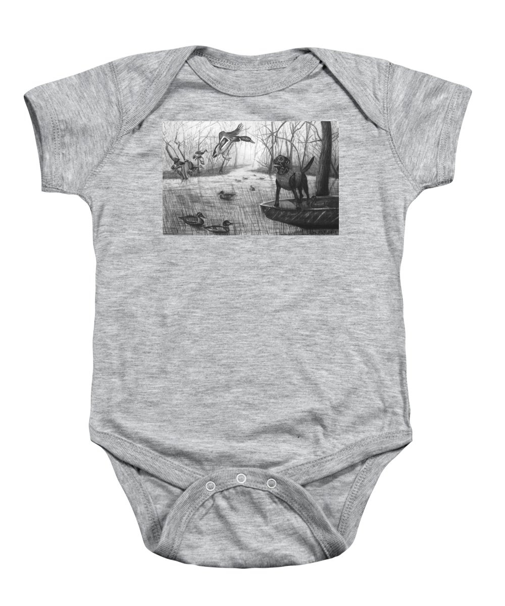 Cloaked Baby Onesie featuring the drawing Cloaked by Peter Piatt