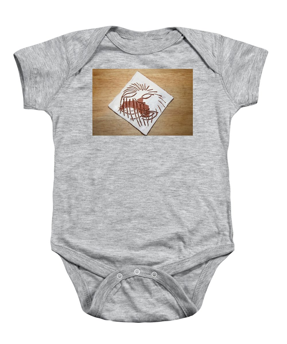 Jesus Baby Onesie featuring the ceramic art Clocked Off - Tile by Gloria Ssali