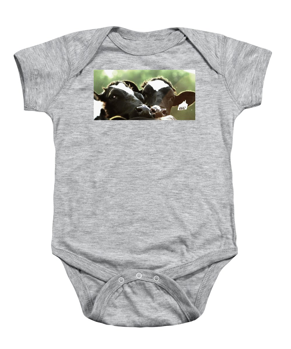 Animal Baby Onesie featuring the photograph Close Moos by Susie Gordon