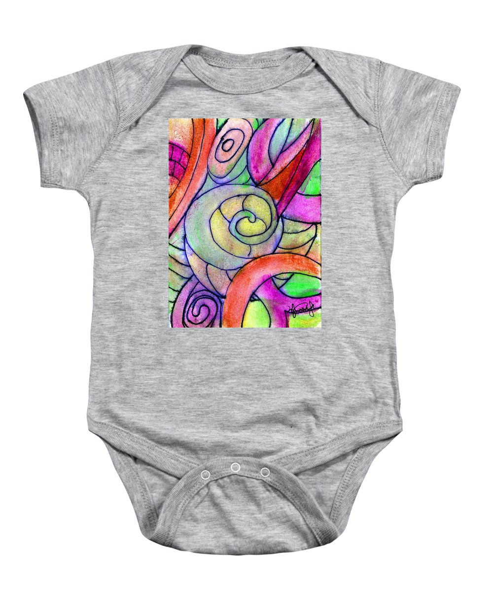 Abstract Baby Onesie featuring the painting Close Up In The Garden Brightly by Wayne Potrafka