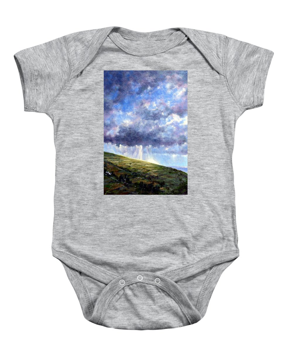 Oil Painting Baby Onesie featuring the painting Cloud Burst Ireland by Jim Gola
